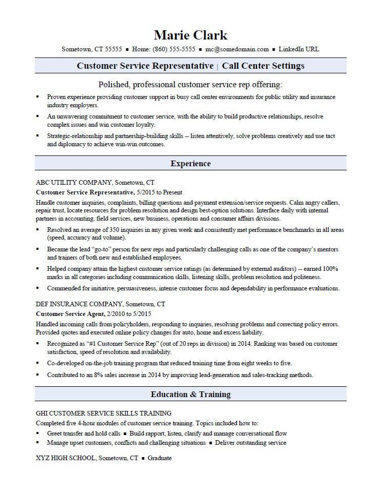 Customer Service Representative Resume Sample Monster - social insurance specialist sample resume