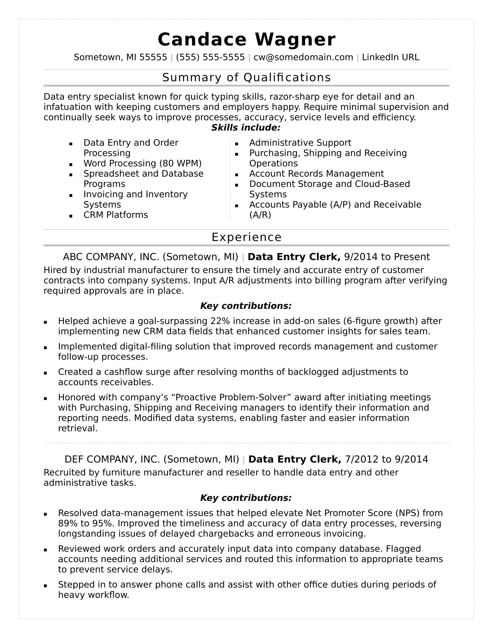 summary of qualifications resume for data entry
