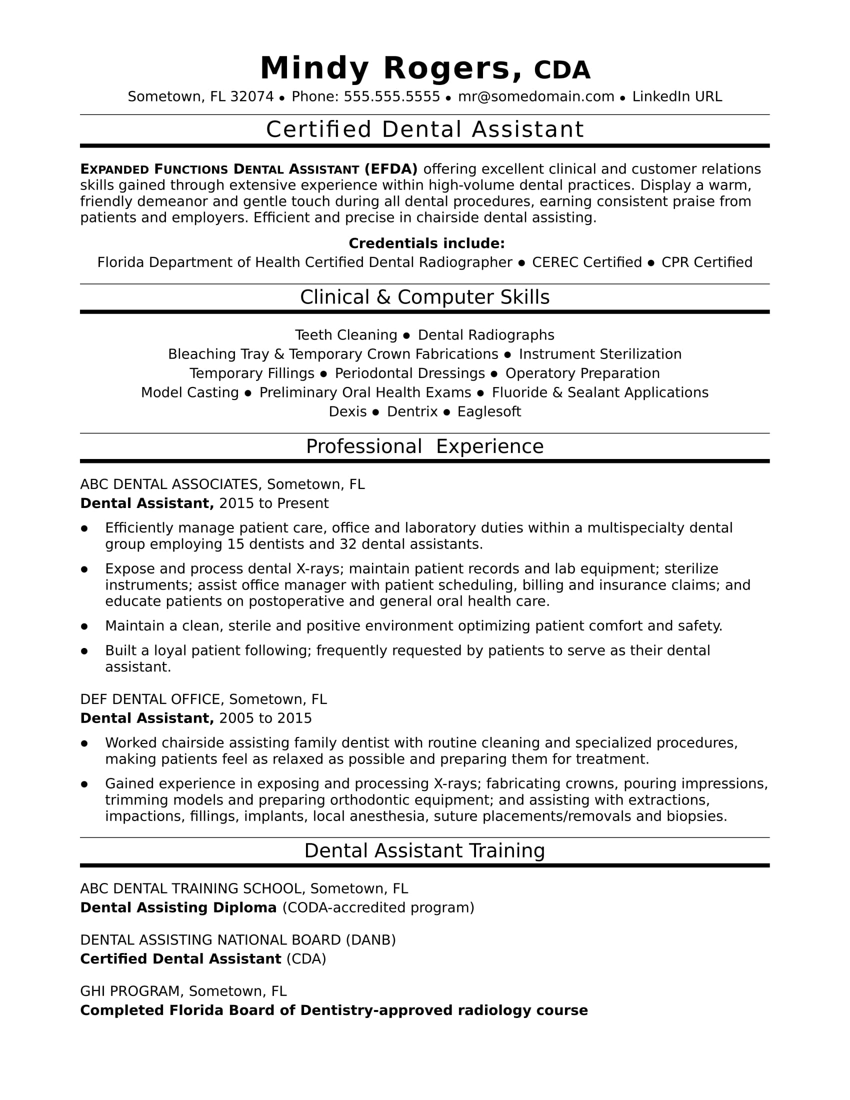 good resume examples for dental assistant