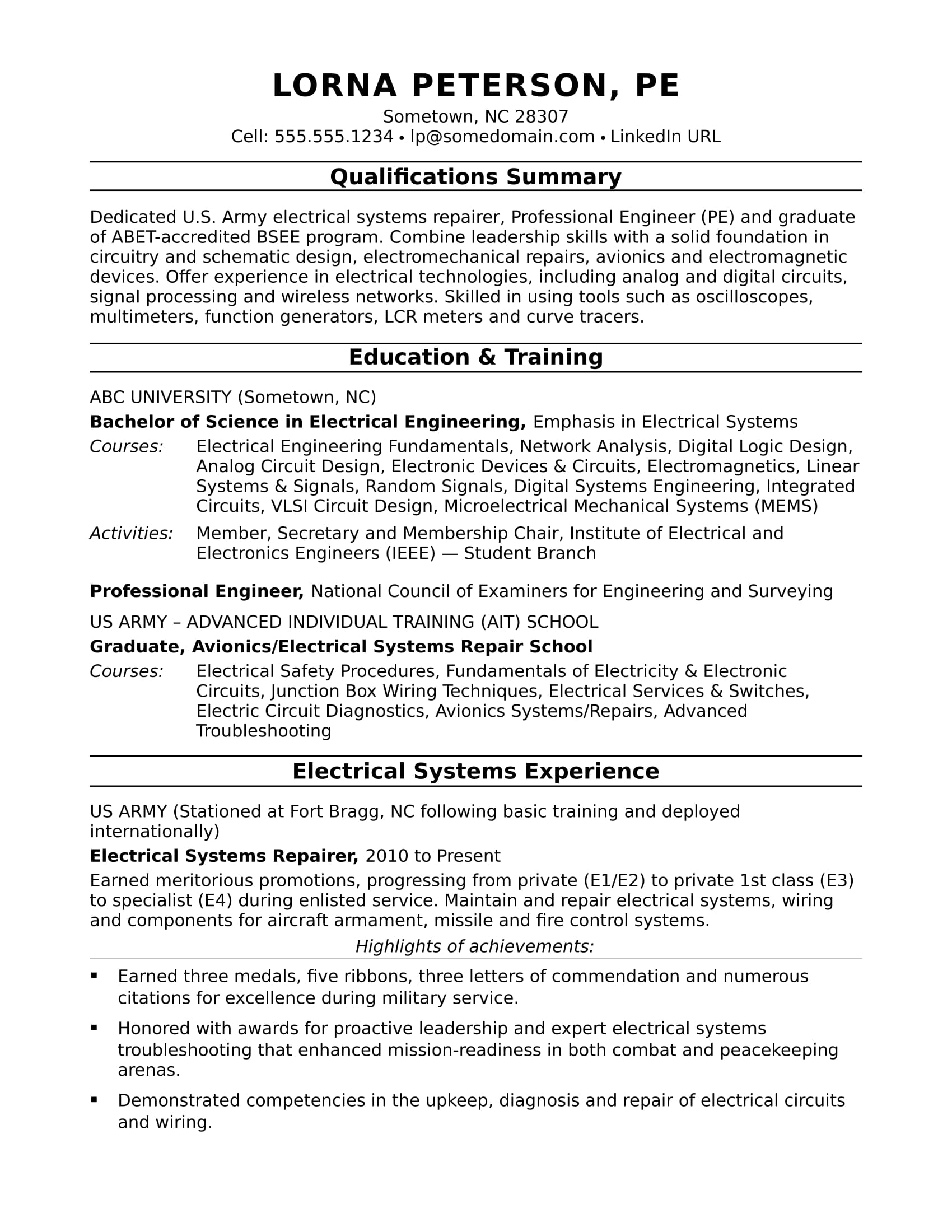 Sample Resume For A Midlevel Electrical Engineer Monster