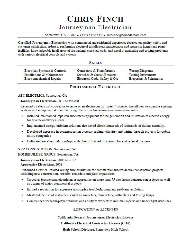 Journeyman Electrician Resume Sample Monster - Resume Sample For Electrician
