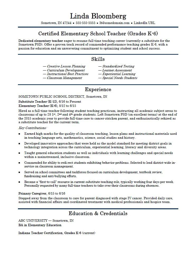 Elementary School Teacher Resume Template Monster - Elementary Teacher Resume Sample