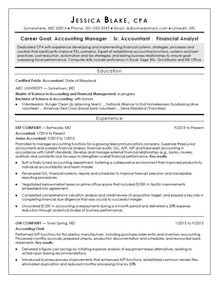 CPA Resume Sample Monster - Resume For Accountant Sample
