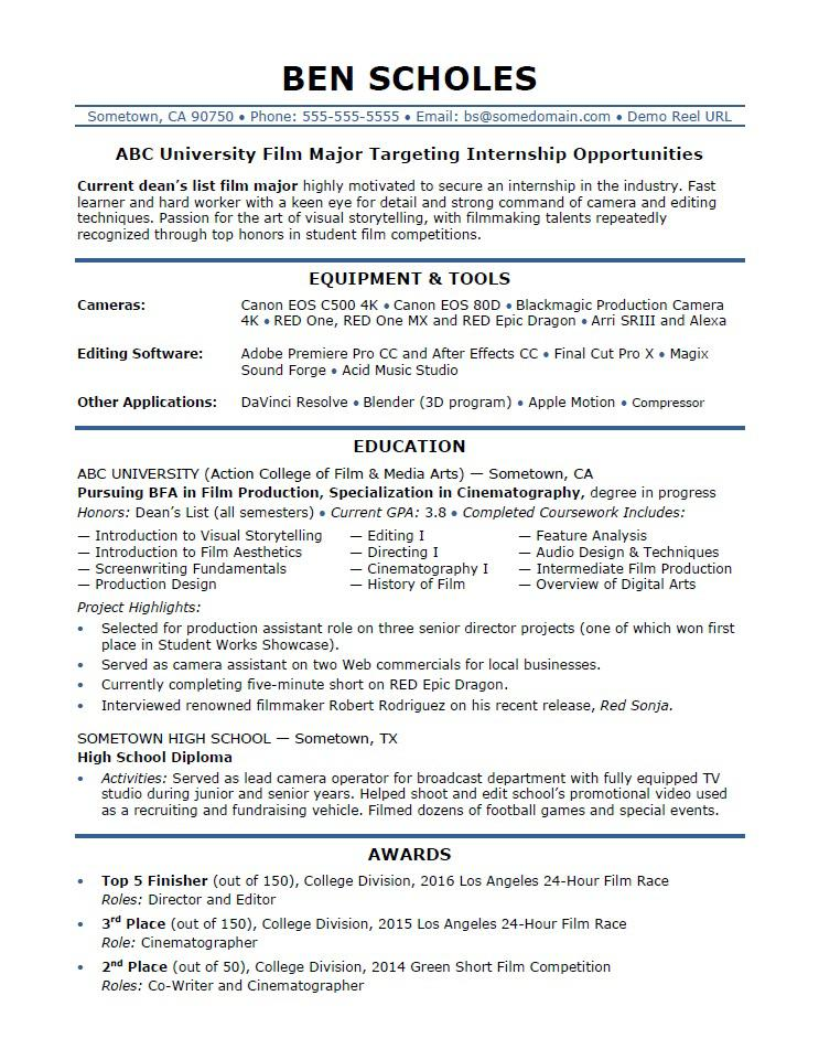 Internship Resume Sample Monster - college resume example