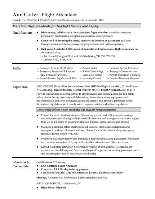 Flight Attendant Resume Sample Monster - Food And Beverage Attendant Sample Resume