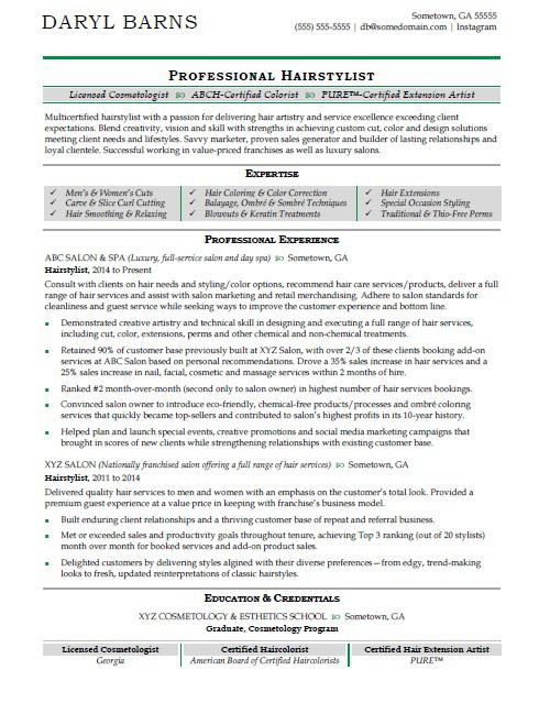 Hair Stylist Resume Sample Monster - professional resume 2018