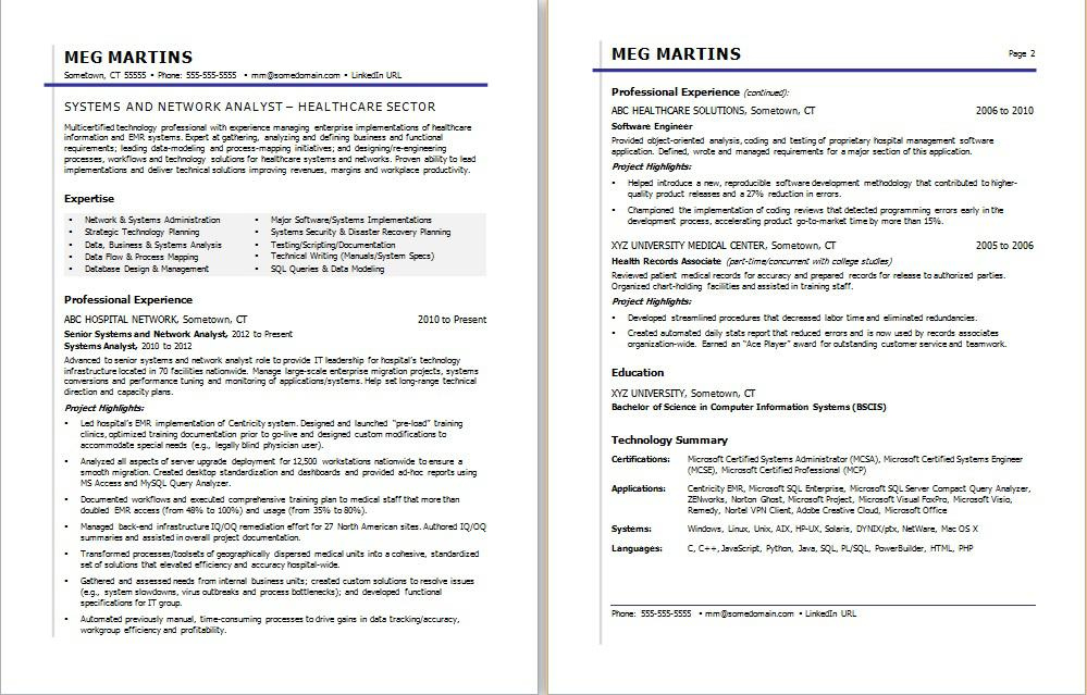 Healthcare IT Resume Sample Monster - sample of it resume