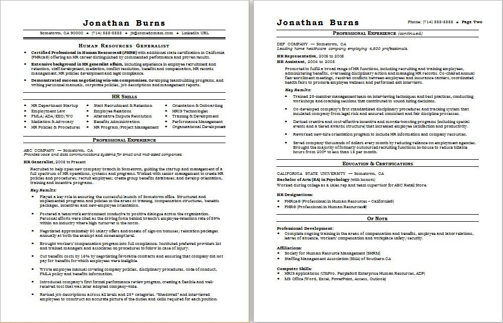 HR Generalist Resume Sample Monster - project management sample resume