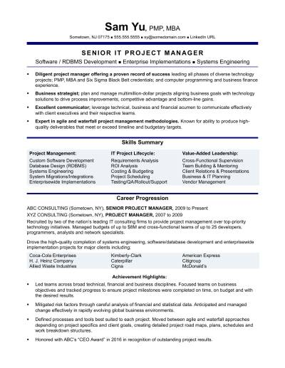 Experienced IT Project Manager Resume Sample | Monster.com