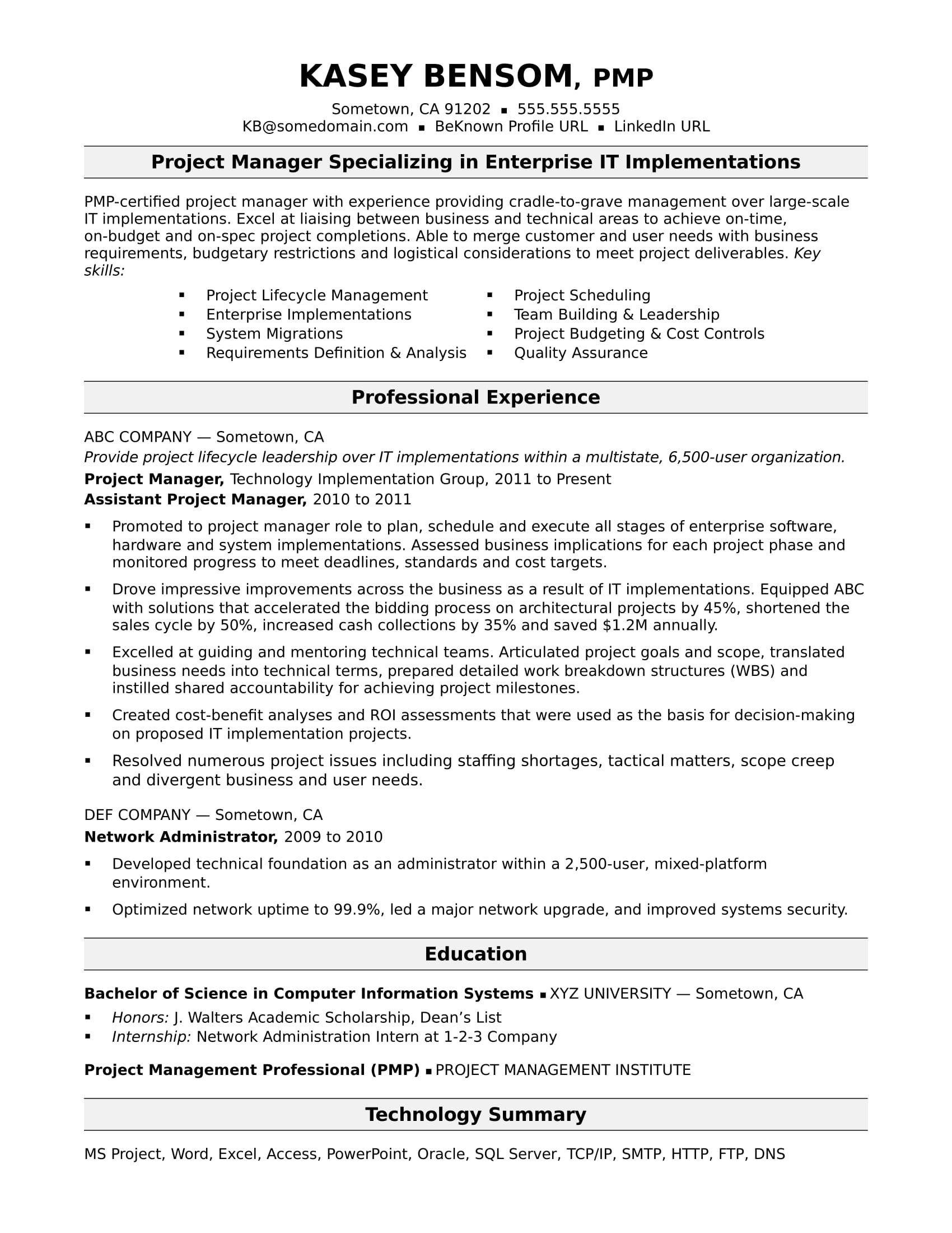 project manager resume profile sample