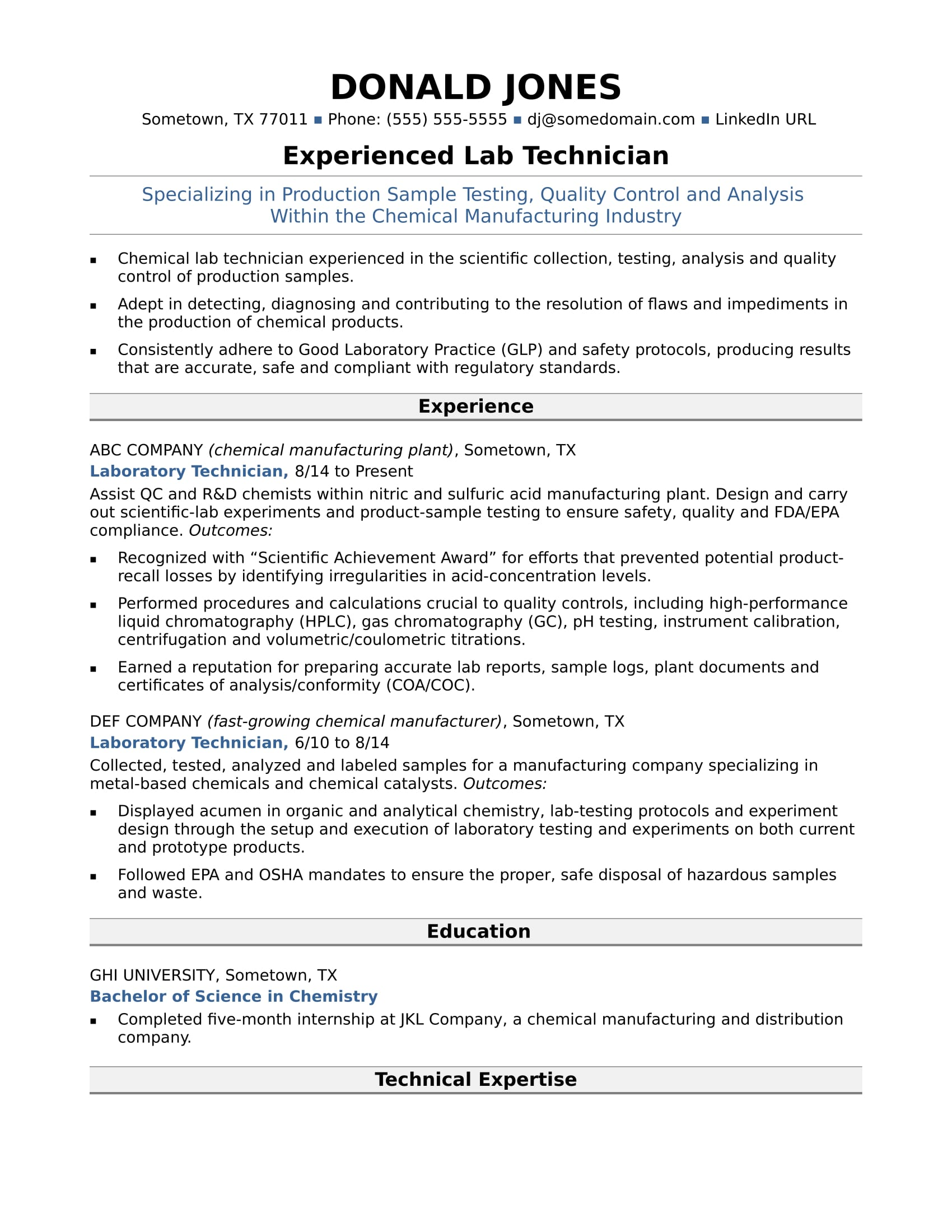 instrument technician resume