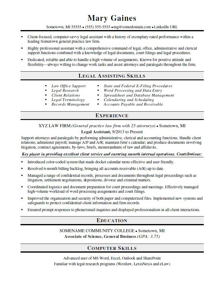 Legal Assistant Resume Sample Monster