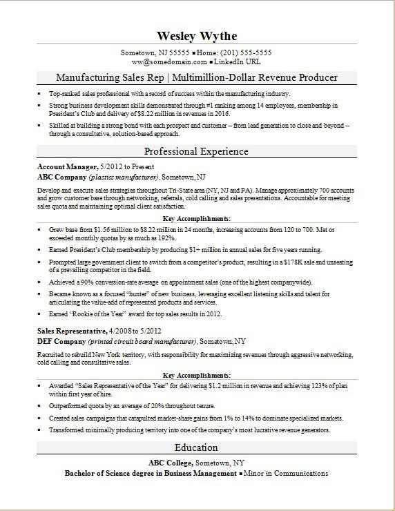 manufacturing sales rep resume examples