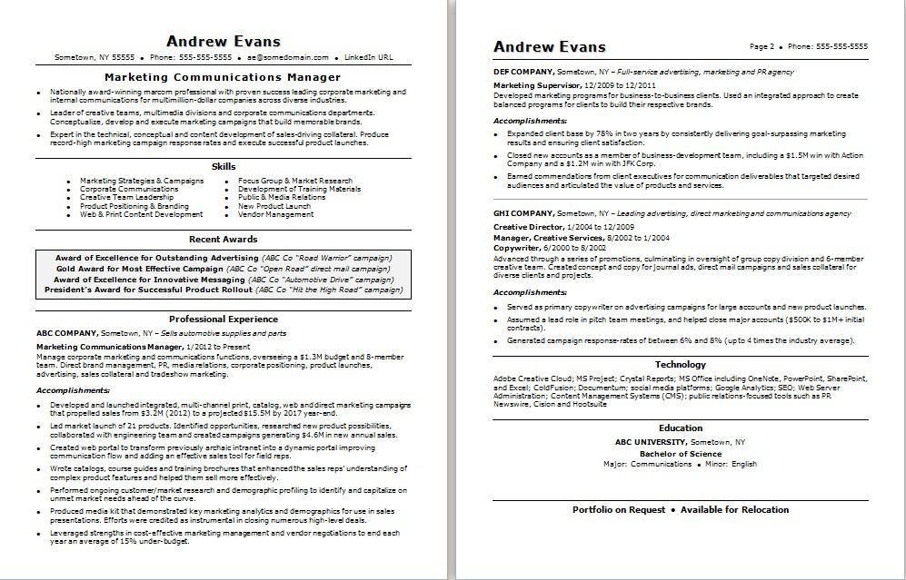 Marketing Communications Manager Resume Sample Monster - sample resume sales and marketing