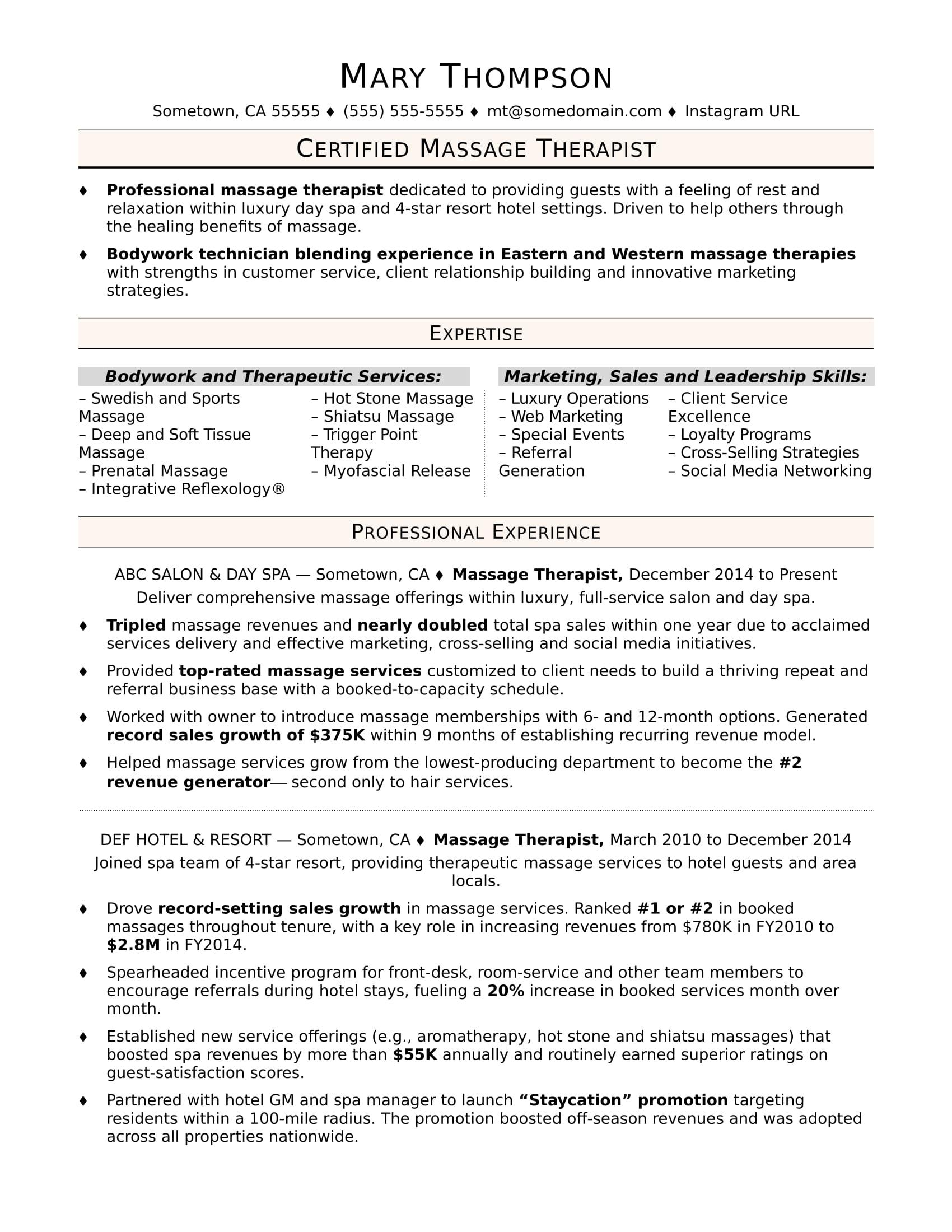 massage therapist ms word resume template
