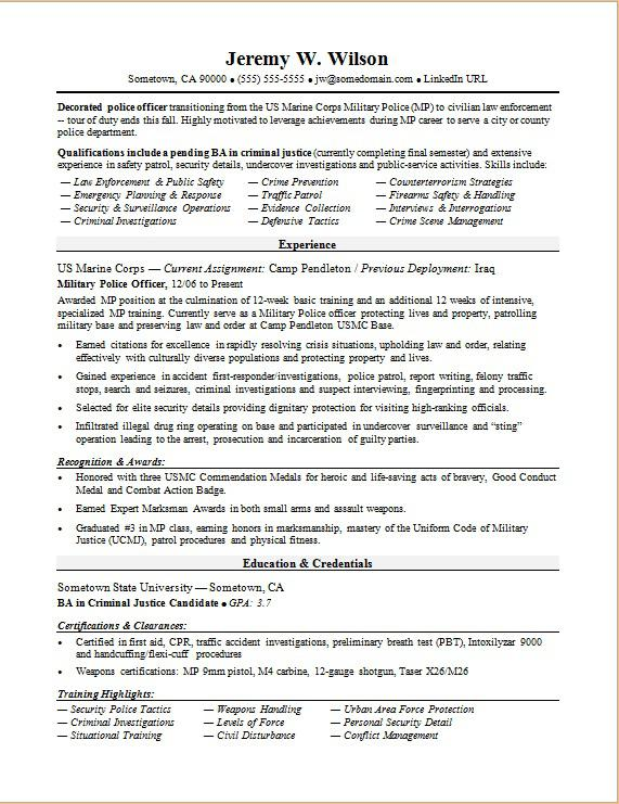 Police Officer/Military-to-Civilian Resume Sample Monster
