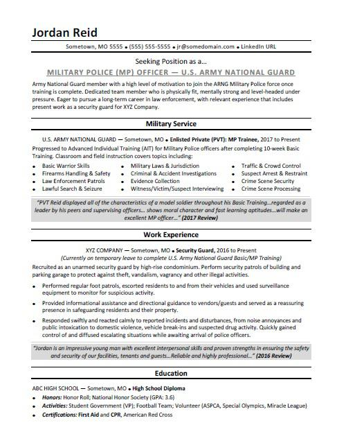 Military Resume Sample Monster - military police officer sample resume