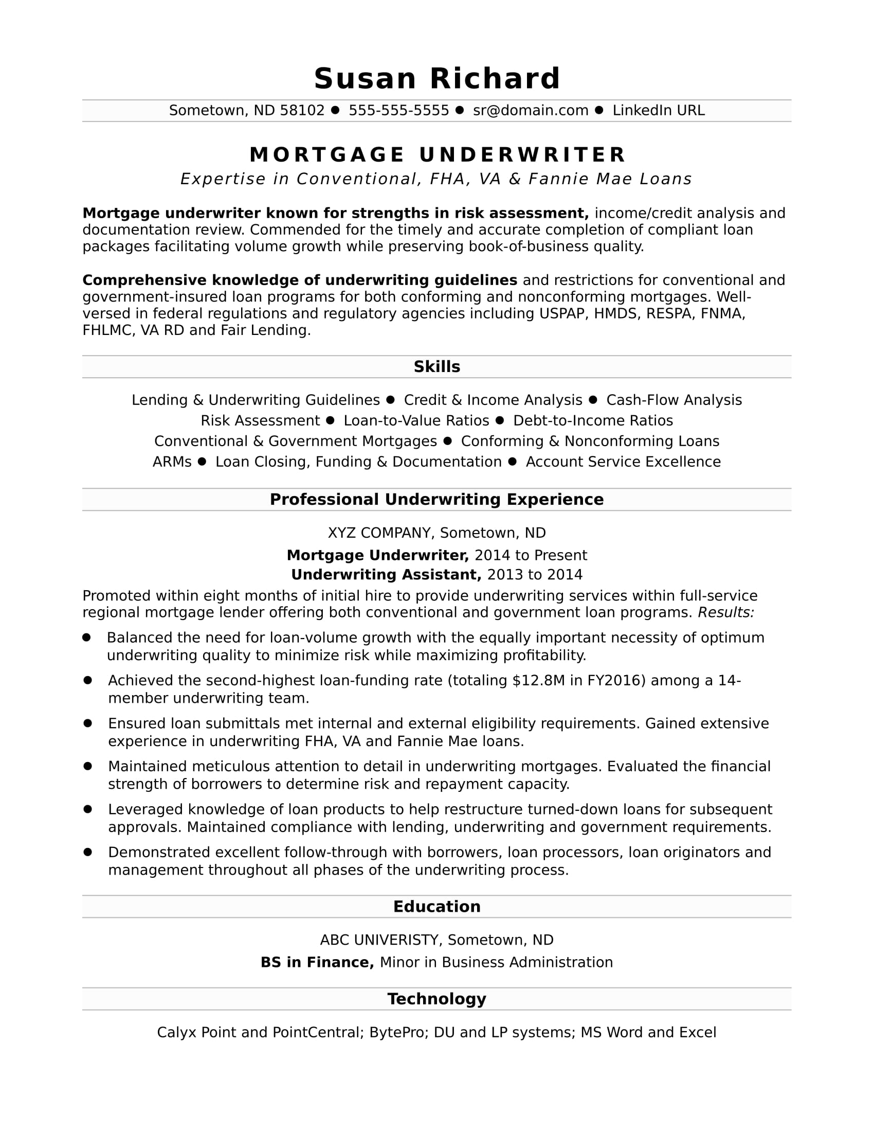 resume objective examples mortgage underwriter