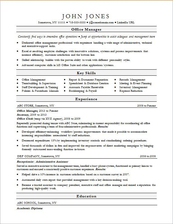 Office Manager Resume Sample Monster - Key Skills For Resume