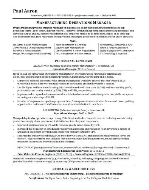 Operations Manager Resume Sample Monster - sample resume manufacturing