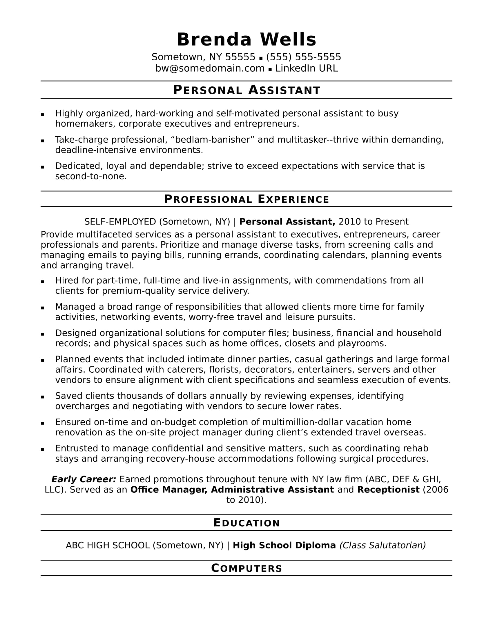 sample of cv assistant