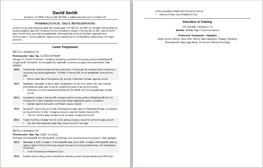 Pharmaceutical Sales Resume Sample Monster - resume for sales representative