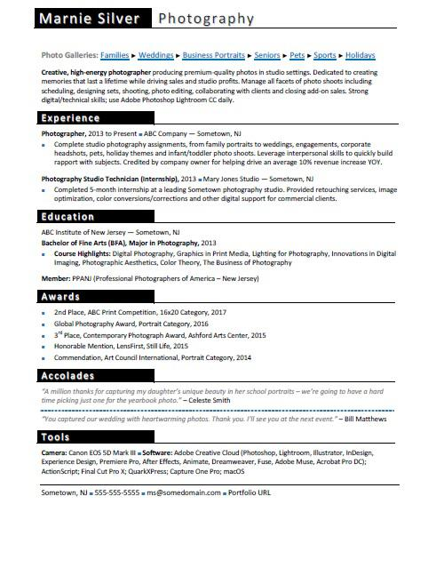 Photographer Resume Sample Monster - sample of resume for internship