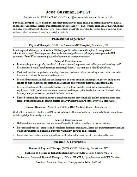 sample physical therapy resume new grad
