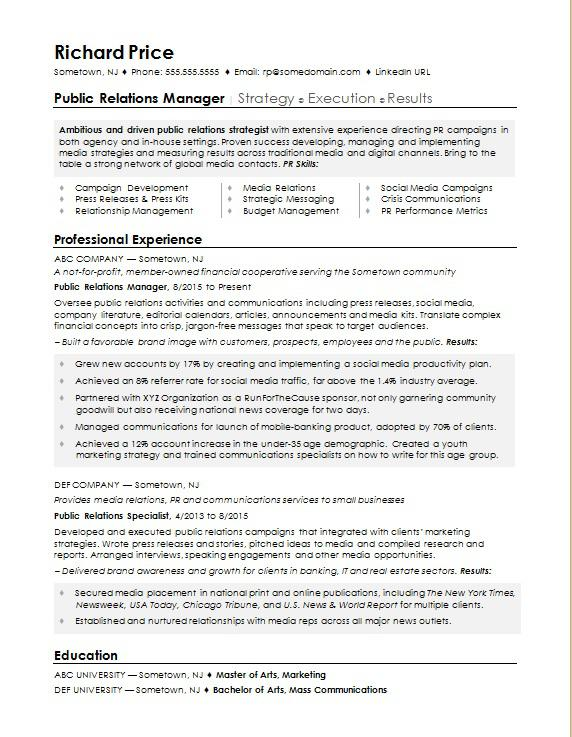Sample resume for a public relations manager Monster