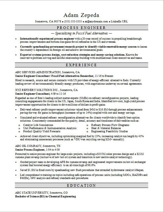 Process Engineer Resume Sample Monster - engineer resume