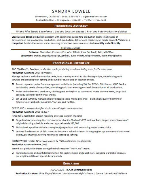 Production Assistant Resume Sample Monster