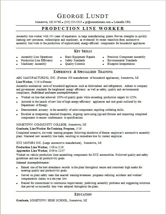 Production Line Resume Sample Monster - Key Skills For Resume