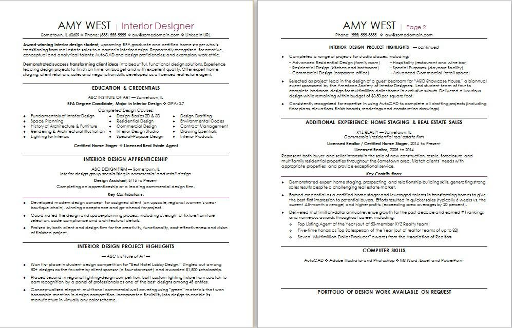 Interior Design Resume Sample Monster - sample career change resume