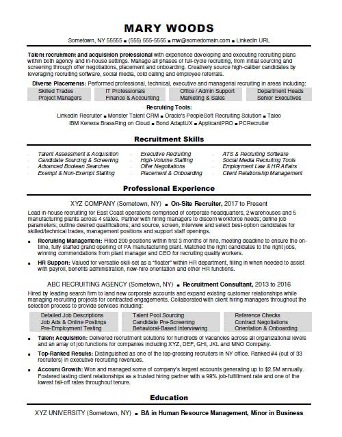 Recruiter Resume Sample Monster - experience resume sample