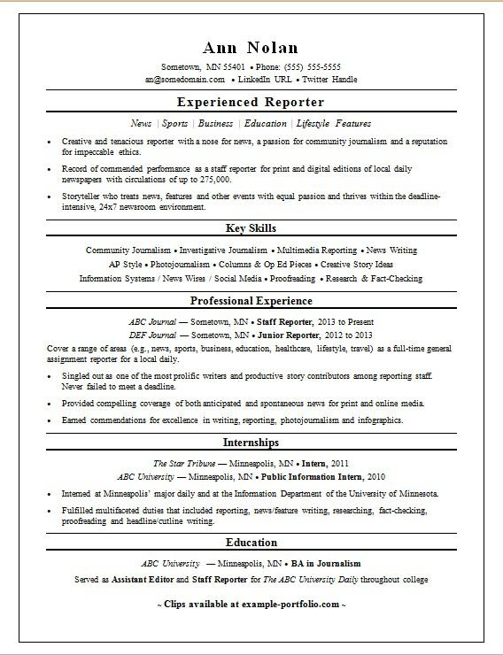 Reporter Resume Sample Monster - resume outline format