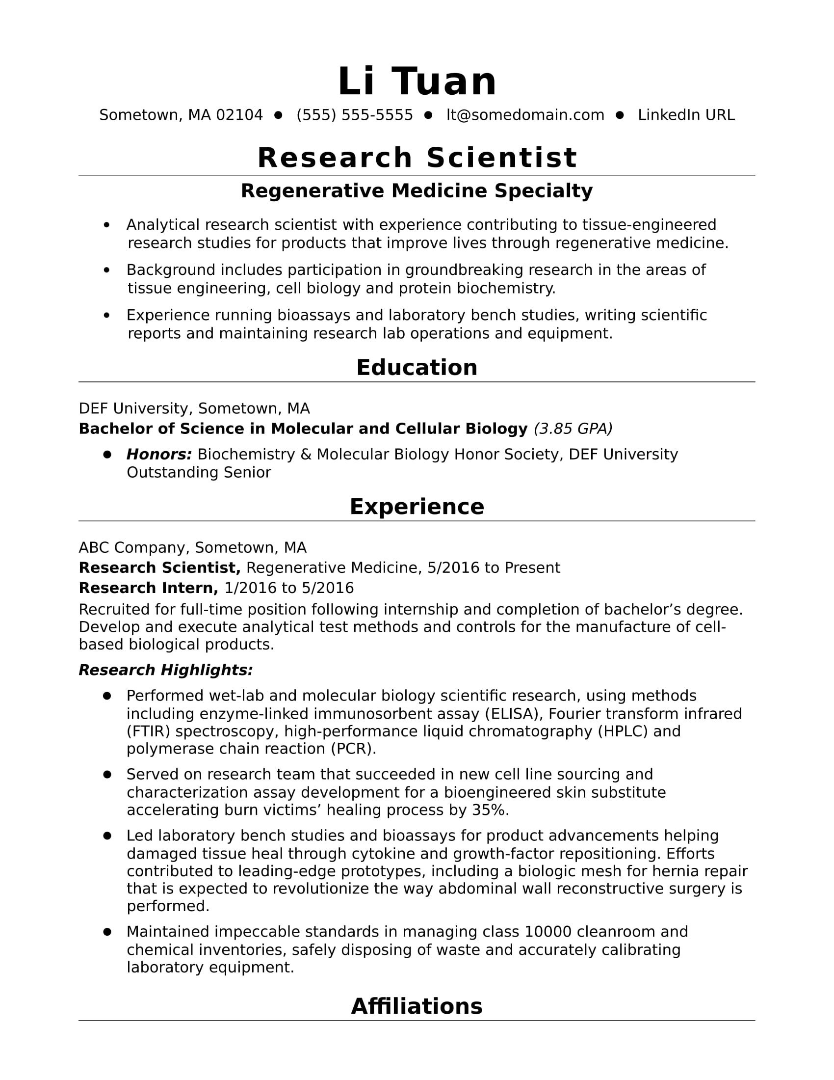 sample resume for research position