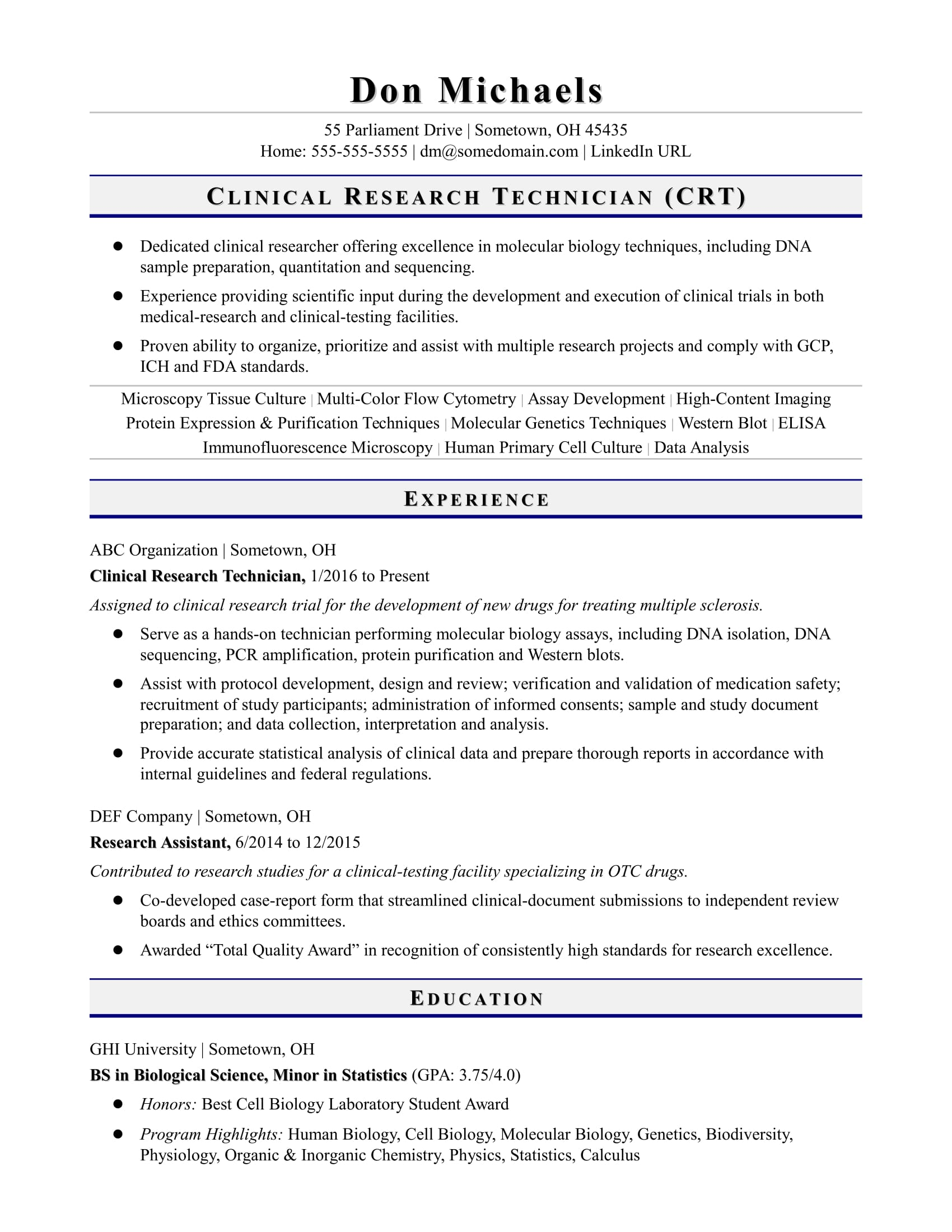 resume summary examples for biology majors