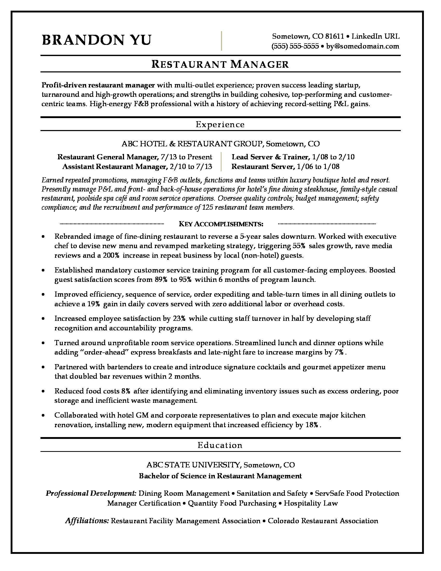 multi unit manager resume sample