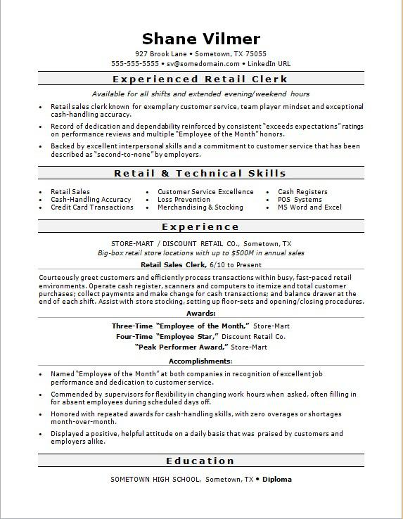 Retail Sales Clerk Resume Sample Monster - experience resume sample