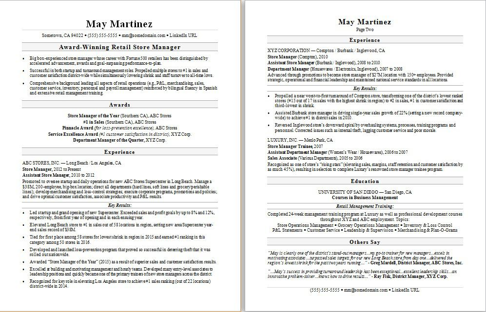 Retail Manager Resume Sample Monster - A Sample Of A Good Resume
