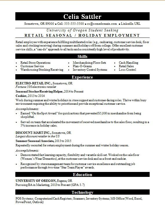 Seasonal Retail Resume Sample Monster - Book Merchandiser Sample Resume