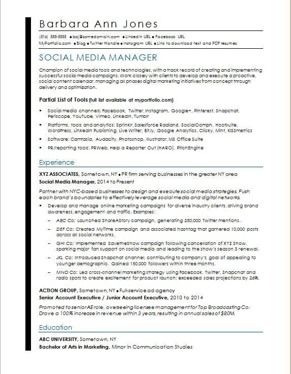 Social Media Resume Sample Monster - Resume Social Media