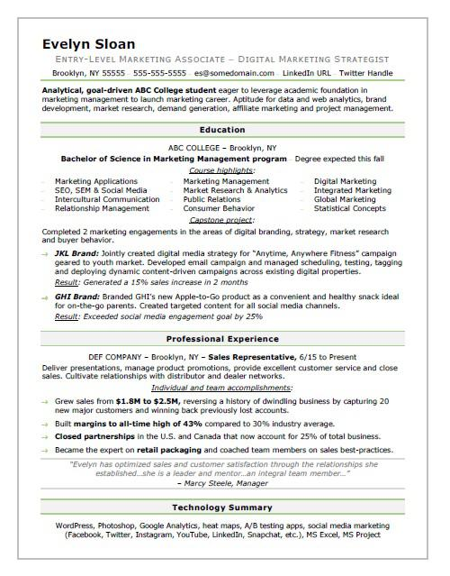 Student Resume Sample Monster - Resume Examples For Students In College