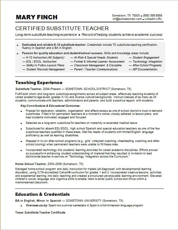 Substitute Teacher Resume Sample Monster - Teachers Resume Example