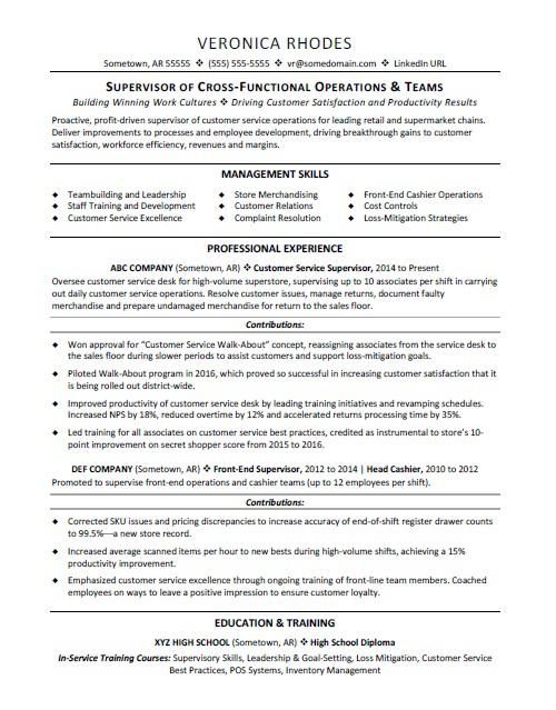 Supervisor Resume Sample Monster - Customer Service Supervisor Resume Sample
