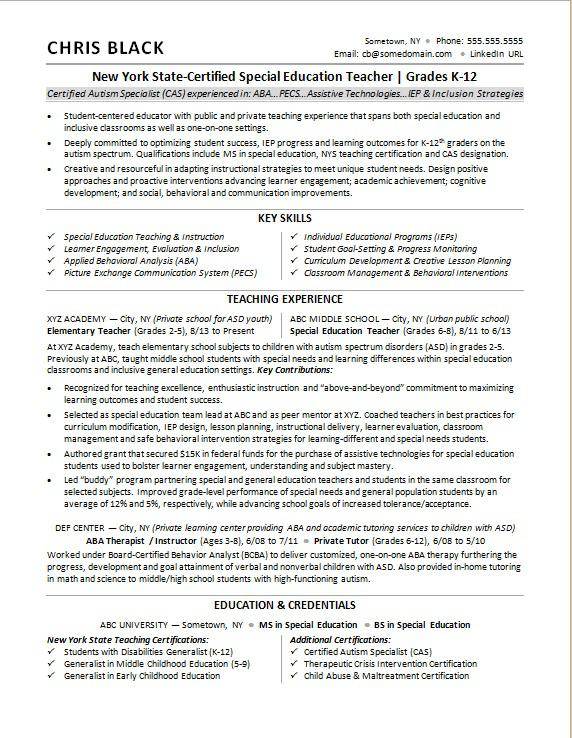 Teacher Resume Sample Monster - Educational Resume Examples