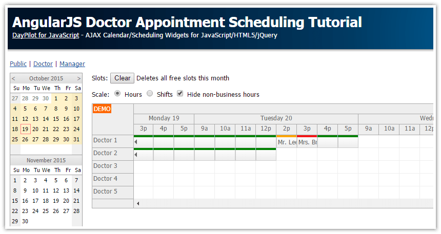 Angularjs Doctor Appointment Scheduling Tutorial Php