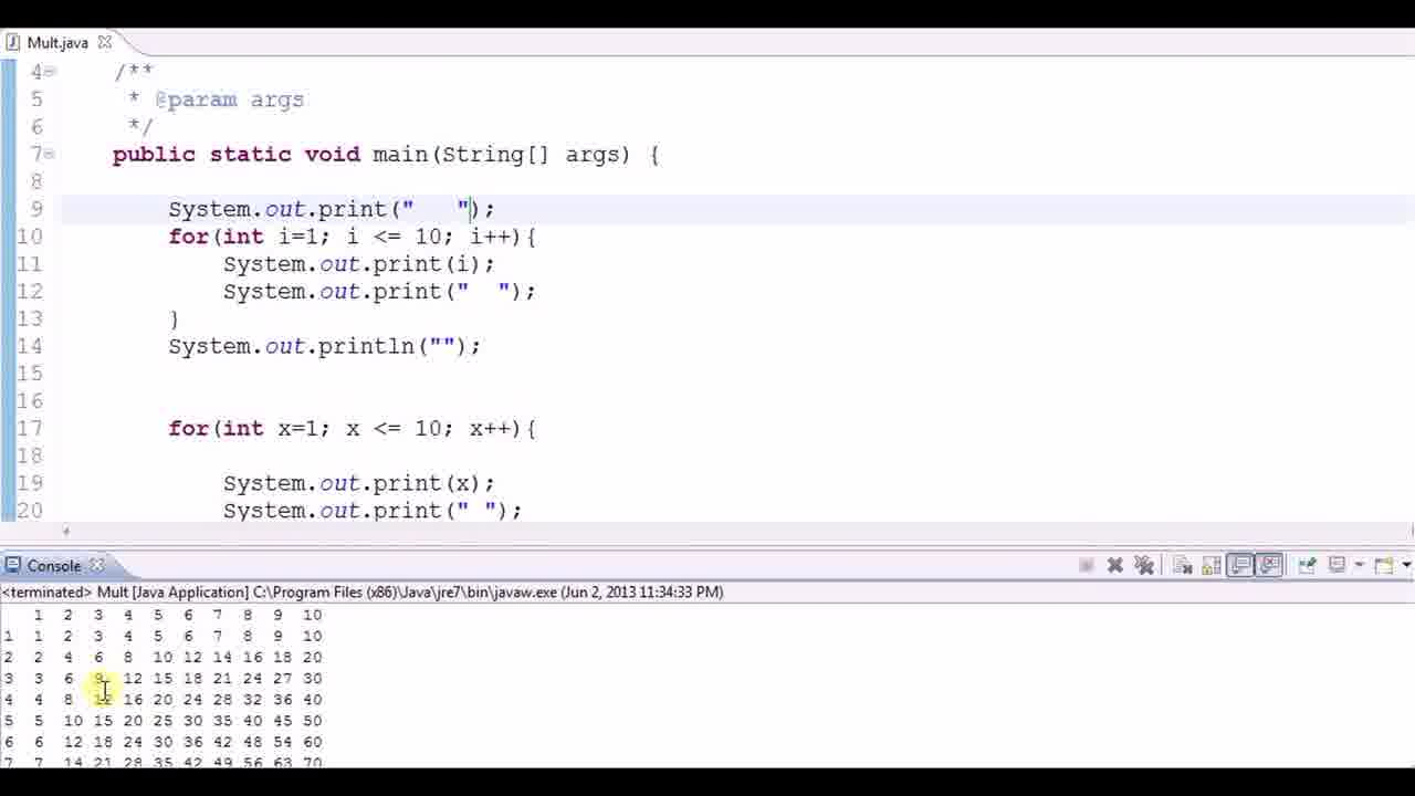 Out Java From Multiplication Table Using Nested Loops Codemasry