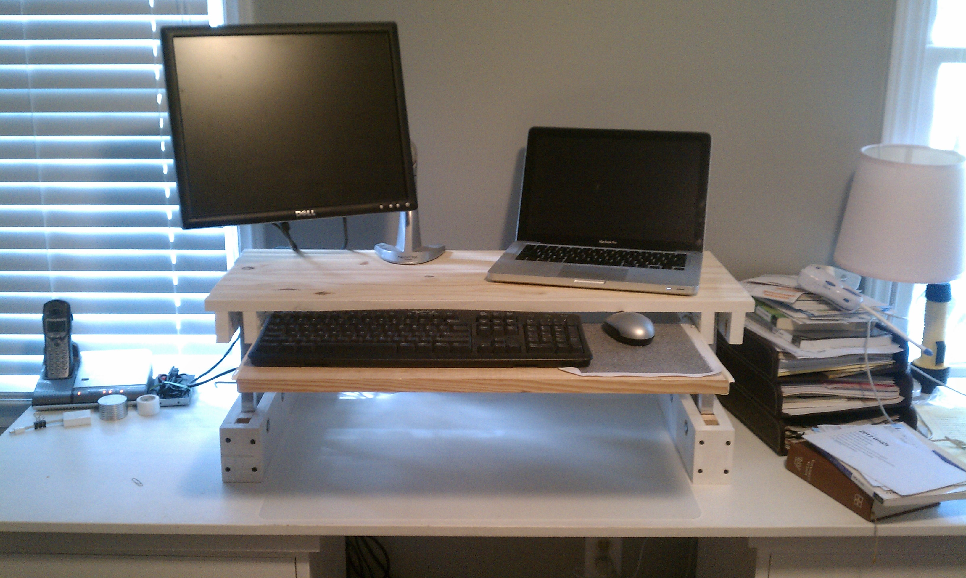 Diy Desktop Standing Desk Diy Adjustable Desk For Under 25 Code Over Easy