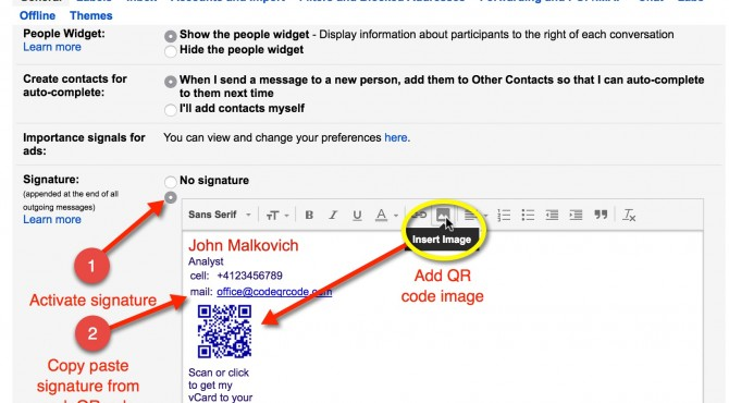 How to add QR code signature to gmail (tutorial) codeQRcode Blog